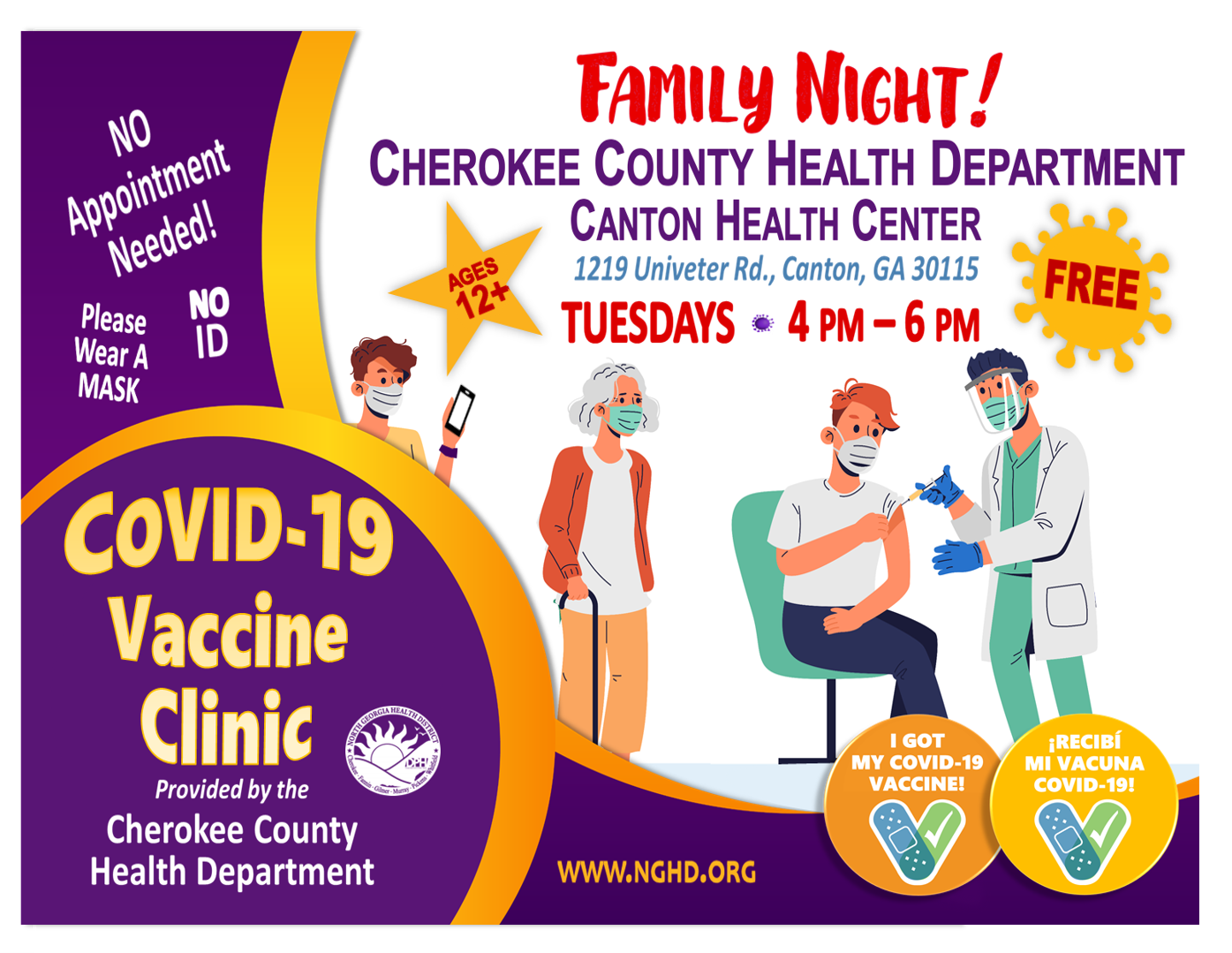 COVID 19 Vaccine Clinic Cherokee Health Dept Family Night Tuesdays flyer Eng