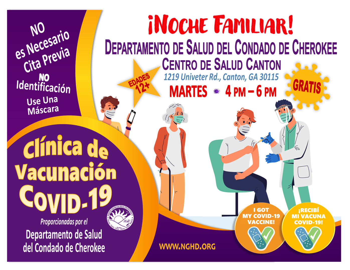 COVID 19 Vaccine Clinic Cherokee Health Dept Family Night Tuesdays flyer Sp