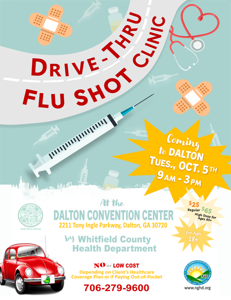 Web de la clínica Dalton Drive Thru Flu Shot