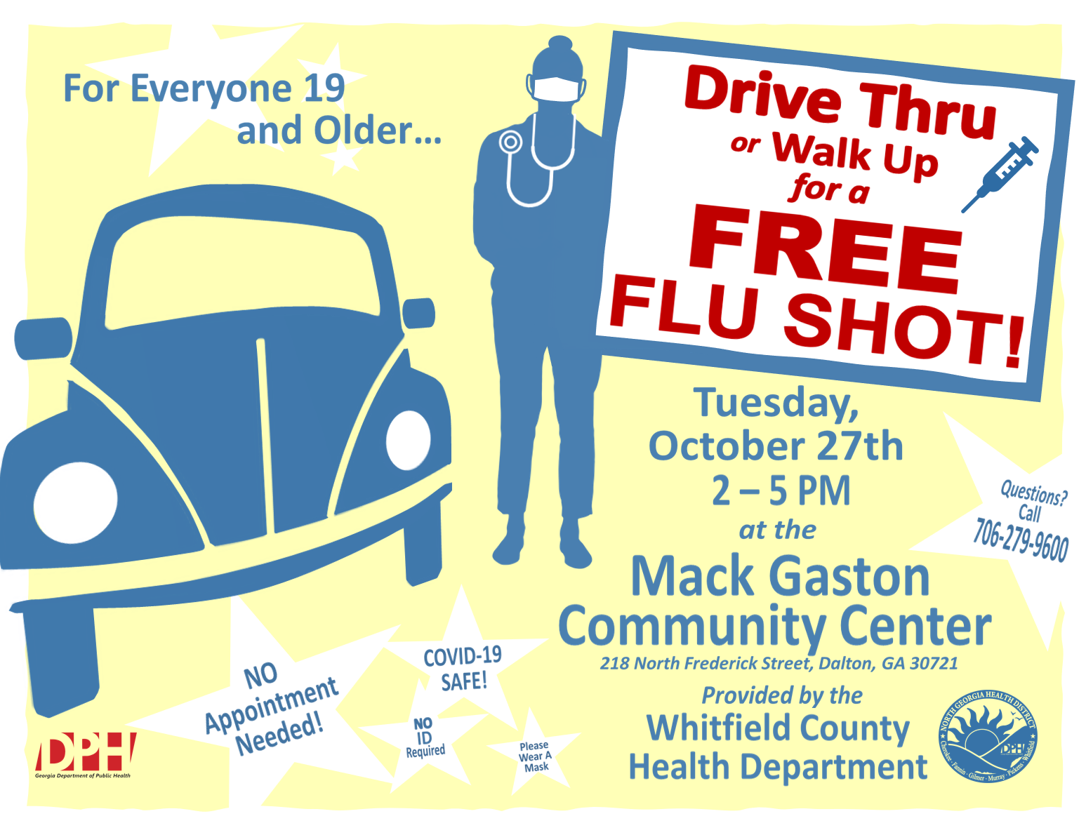 Drive Thru Flu Shot Clinic at Mack Caston Comm Ctr Graphic