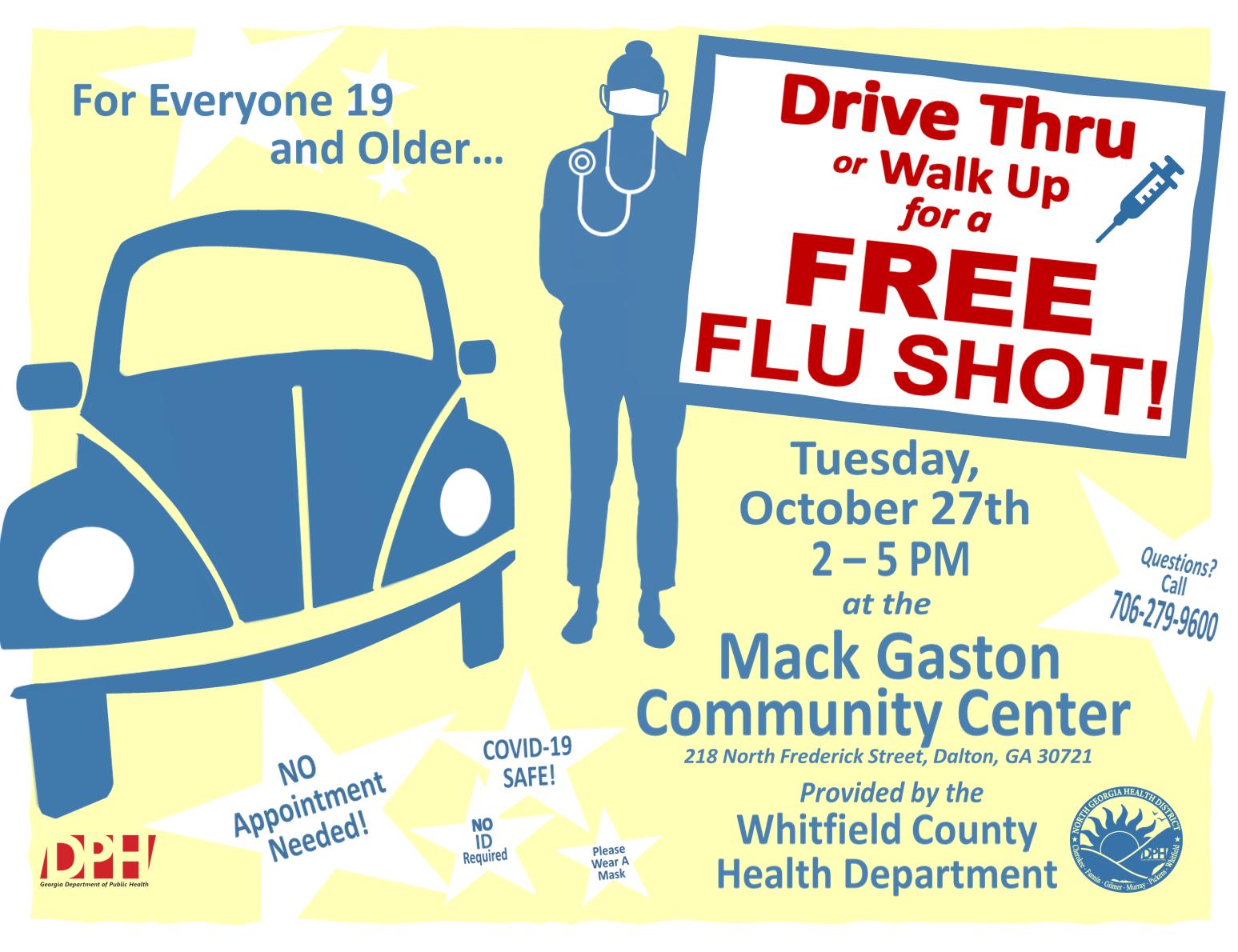 Drive Thru Flu Shot Clinic en Mack Caston Comm Ctr Gráfico
