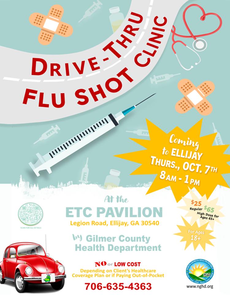 Web de la clínica Ellijay Drive Thru Flu Shot