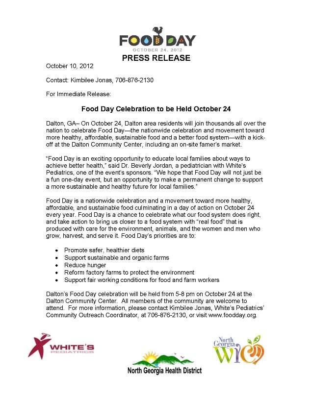 Comunicado de prensa del Día de la Alimentación