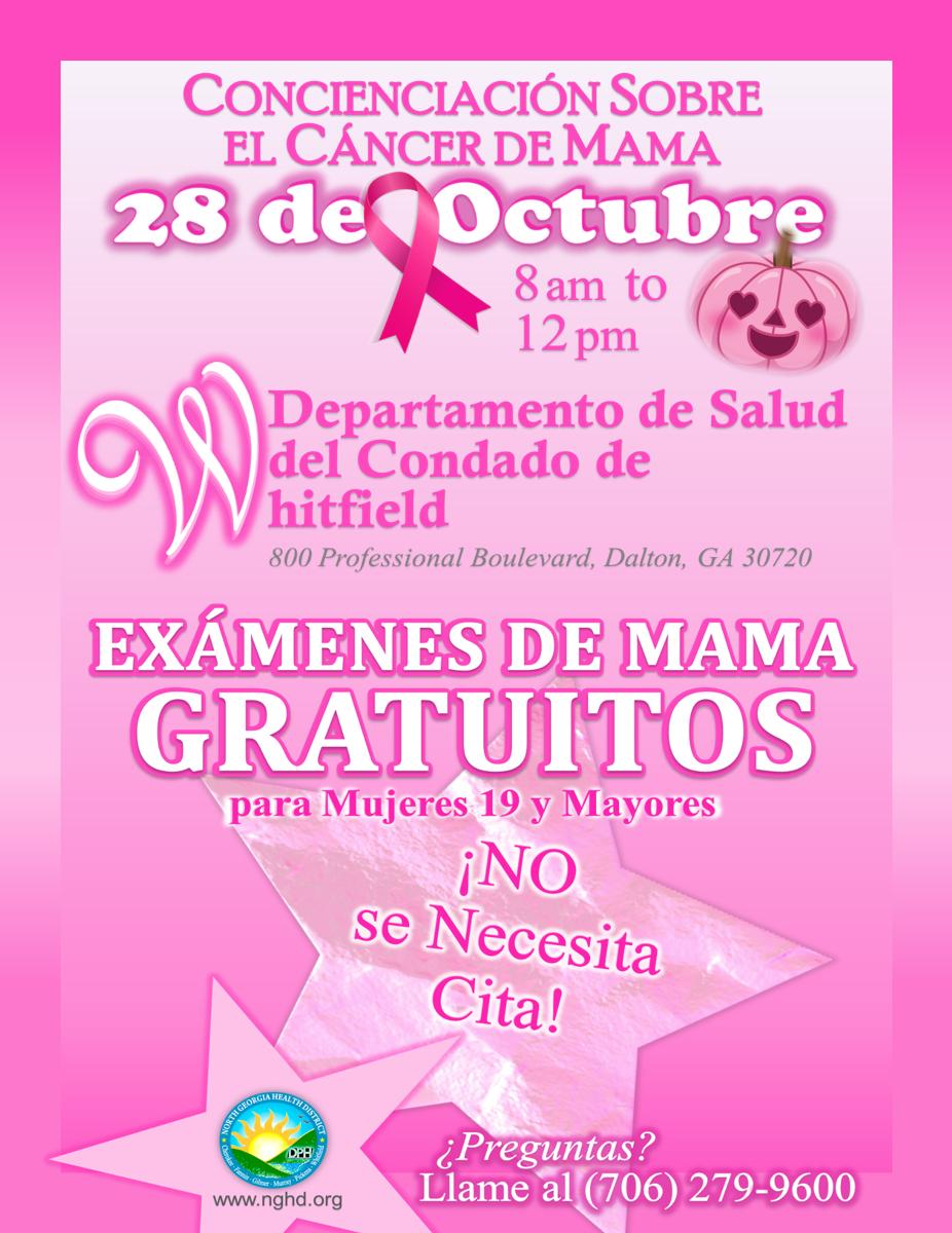 Exámenes de mama gratuitos Evento BCA WCHD Flyer Sp