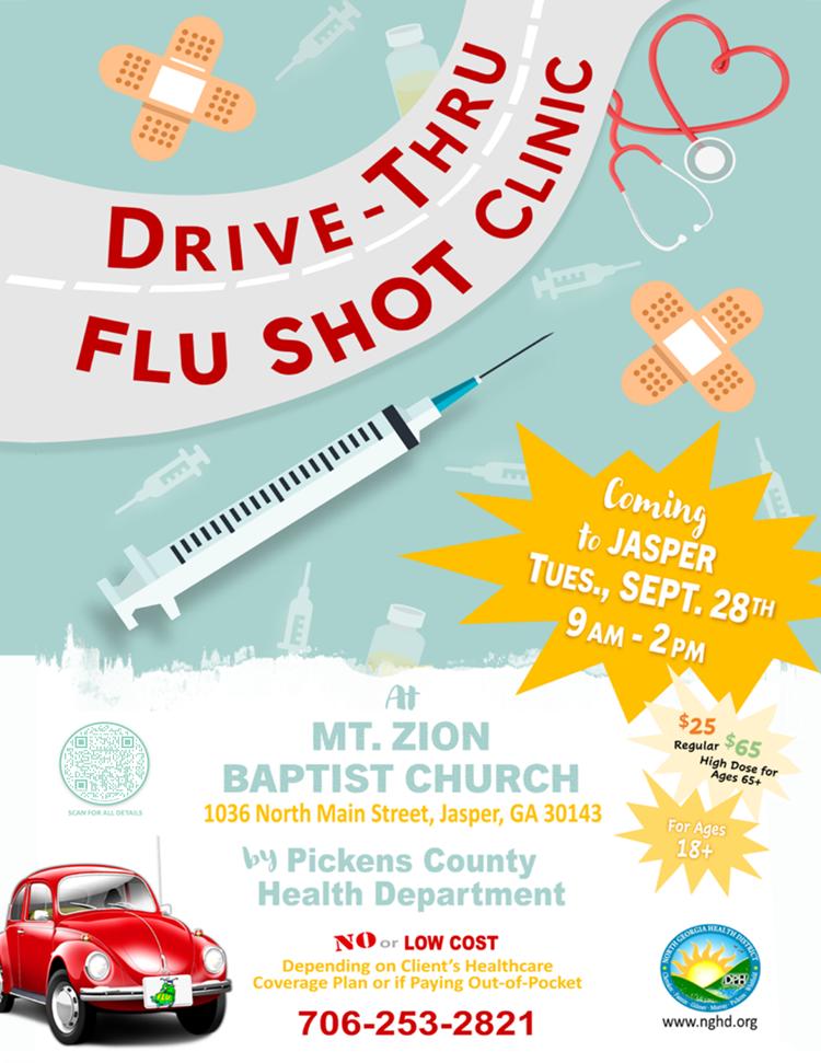 Web de la clínica Jasper Drive Thru Flu Shot