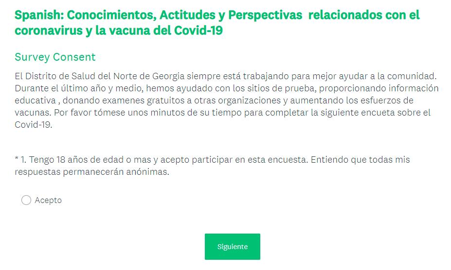 Versión latina de la encuesta COVID 19