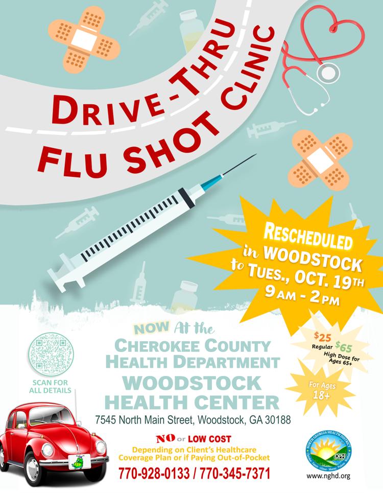 Web de la clínica de vacunación contra la gripe de Woodstock Drive Thru reprogramada