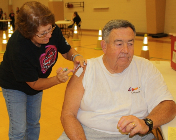 Tom Starnes at Murray County Drive-by Flu Shot Clinic