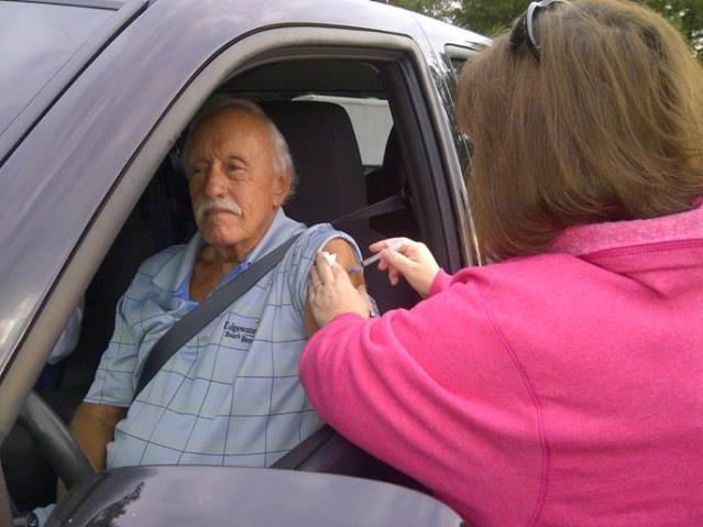 Winford Duckett of Jasper vaccinated at Pickens Co Health Dept Drive-by Flu Shot Clinic - web shot