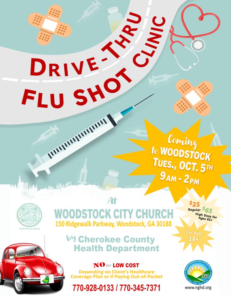 Web de la clínica Woodstock Drive Thru Flu Shot